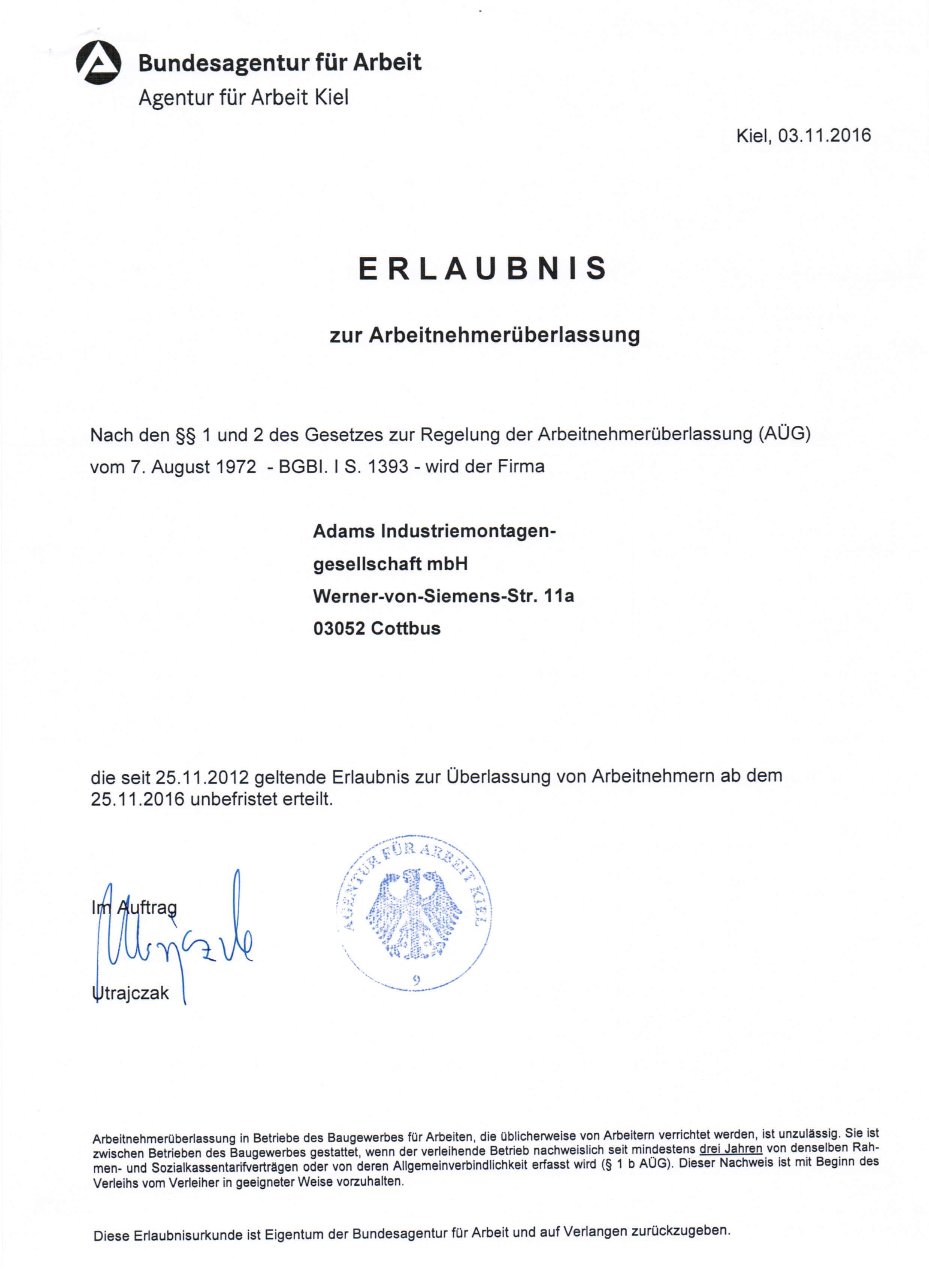 adams-unternemnen-erlaubnis-agentur-fuer-arbeit